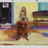 "Angela Dufresne Dog on Porch with Girl on its' Back 2010 Oil on panel 20"" x 22"""